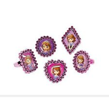 18 Sofia The First Princess Party Favor Purple Plastic Gem Rings