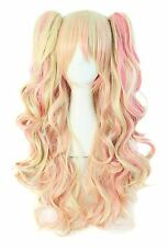 MapofBeauty Multi-color Lolita Long Curly Clip on Ponytails Cosplay Wig (Blon...