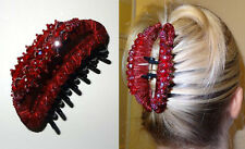 "DARK RED LARGE HAIR BARRETTE JAW CLIP CLAW 4""long,with beaded crystals- NWT"