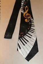 Piano Keyboards And Music Notes On A New 100% POLYESTER Neck Black Tie!