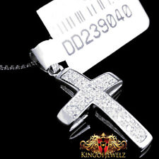 Men's Women's White Gold Finish Genuine Diamond Cross 0.21 Ctw Chain Necklace