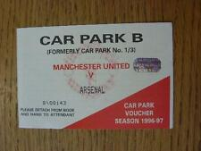 16/11/1996 Ticket: Manchester United v Arsenal  [Car Park B Voucher]. No obvious