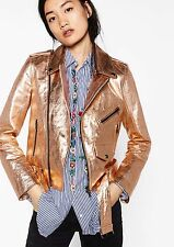 BNWT ZARA Leather Pink Rose Gold Metallic Biker Jacket Size XS /UK 6