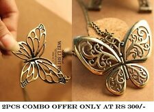 COMBO 2 Types Of Ancient Bronze Butterfly Pendant Necklace Chain Retro Jewellery