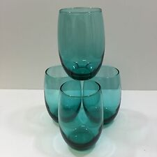 4pc Uptown 15oz Aqua Blue Stemless White Wine Glasses