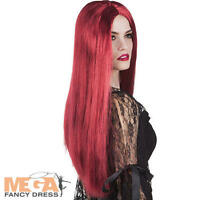 Mahogany Red Witch Long Wig Ladies Fancy Dress Halloween Devil Womens Costume Ac