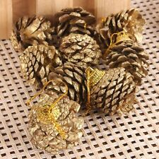 9PCS Christmas Gold Pine Cones Baubles Xmas Tree Decorations Ornament Gift Decor