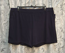 100% COTTON KNIT PULL-UP NAVY SHORTS PANTS SLEEP LOUNGE PAJAMA W/POCKETS~3X~NEW