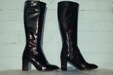 ~ HOBBS LEATHER BOOTS ~ PULL ONs BLACK PATENT LEATHER BOOTS Ladies Size 4 37