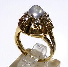 Mondstein Ring in 585/14k 53 (16,8 mm Ø) Gold Gelbgold 6 Brillanten ca. 0,14ct