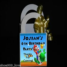 Mario Brothers. Personalized 12 Favor Boxes Birthday Party *Ribbon Included*