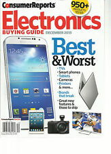 CONSUMER REPORTS, ELECTRONICS BUYING GUIDE, DECEMBER, 2013 ( BEST & WORST  )