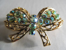 Vintage Coro Script marked Butterfly Light Blue Rhinestone Brooch Fancy!!!!