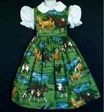 NEW Hand made Running Horses On Meadow Scenic Dress Custom Sz 12 Month-14 Yrs