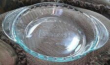 "PYREX FLUTED PIE PLATE w DOUBLE HANDLES ~ CLEAR GREEN TINTED GLASS 9.5"" #2229"