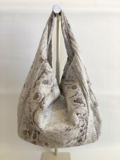 New Genuine Python Snakeskin Leather Large Hobo Shoulder Bag Handbag White