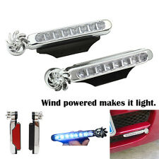 2 x Car 8 LED White Wireless Wind Powered Turbine Daytime Driving Fog Light SUV