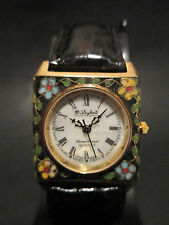 A28 Rare Dufonte by Lucien Piccard Lady Square Genuine Leather Band Dress Watch