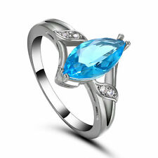 New Claw Ring Size 6.5 Aquamarine Women's 10Kt White Gold Filled Wedding Gift
