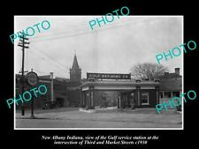 OLD LARGE HISTORIC PHOTO OF NEW ALBANY INDIANA THE GULF OIL GAS STATION c1930