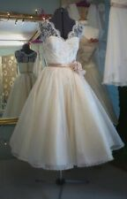 Vintage Lace Short Wedding Dresses Formal Beach Tea Length Bridal Gowns Custom