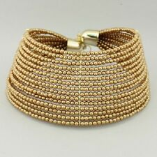 Elegant & Chunky 15 Layer Gold Faux Pearl and Bead Choker Statement Necklace Set