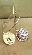 "TREE OF LIFE HAMMERED SILVER ON 2""HOOP EARRINGS SILVER PLATED, JEWISH WICCA BOHO"