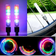 2X Cycling Bicycle Wheel Tire Valve Dust Cap Spoke Neon LED Lights Lamp Tyre By
