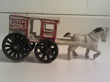 """Vintage Cast Iron Fresh Milk Wagon & Horse Collectible 7"""" Long Red White Black"""