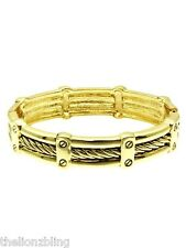 Urban Gothic Industrial Cable Wire design Gold Stretch Bracelet