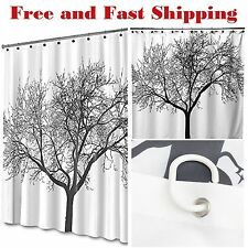 Shower Curtain Fabric Waterproof Bathroom Polyester 12 Hooks Large Tree Design