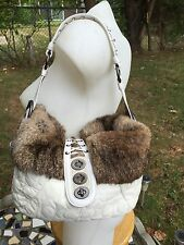 COACH WINTER WHITE  NYLON QUILTED LEATHER RABBIT FUR TRIM HOBO SHOULDER BAG