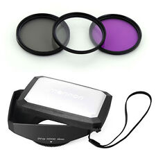 46mm 16:9 Wide Lens Hood,Filter Kit for JVC Everio GZ-HD3,HD7,HM1,HM400,MG555,US