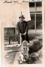 Old Vintage Antique Photograph Man Pushing Baby in Walker Stroller Bike Laundry