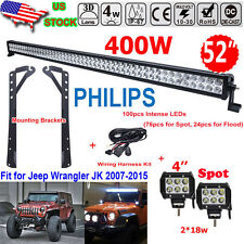 "52 Inch 400W Combo +4"" 18W Led Light bar+Mount Brackets Fit For Jeep Wrangler JK"