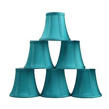Urbanest Set of 6 Teal Silk Bell Chandelier Lamp Shade, 3-inch by 5-inch by