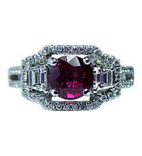 $6K Designer Natalie K Trapezoid Diamonds Ruby Engagement Ring 18K White Gold