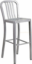 MID-CENTURY SILVER 'NAVY' BAR STOOL CAFE PATIO CHAIR INDOOR-OUTDOOR COMMERCIAL