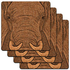 Elephant Face Safari Low Profile Cork Coaster Set
