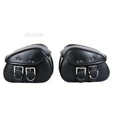 2x Motorbike PU Leather Saddle Bag Fits Harley Dyna Super Wide Glide Custom
