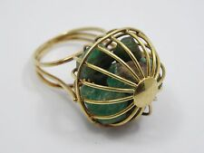 ESTATE 50's SOLID 18K GOLD CAGE RING w/ RAW ROUGH EMERALD STONES sz 3 ~ 6.3 g