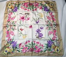 Mint Vintage GUCCI 100% SILK FloralScarf 34 X 34 Inches