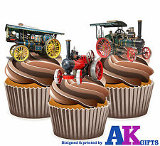 12 X Vintage Mamod Traction Engine Mix Edible Wafer Cake Toppers Stand Ups