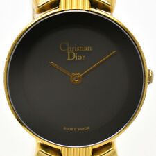 Auth Christian Dior Quartz Gold Plated Black Dial Women's Watch #4758