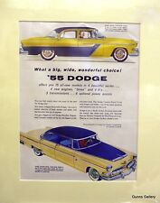 Original Vintage Advert mounted ready to frame 55 Dodge 1955 USA motorcar