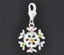 Silver Rhinestone Snowflake Christmas Xmas Clip On Dangle Charm Bead