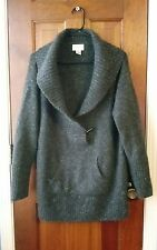 neiman marcus exclusive cashmere gray pullover shawl collar sweater xl