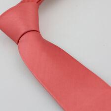 Coachella Ties Coral Pink Solid Color Necktie SKINNY Tie Microfiber Quality Tie