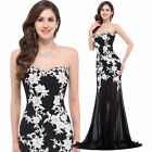Sexy Long Lace Appliques Formal Prom Dress Chiffon Evening Party Bridesmaid Gown