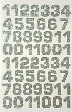 54 ! Glitterati Number Stickers Large Glittery Silver 18 x 23 mm for DIY Crafts